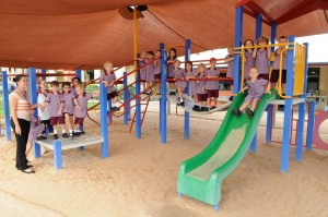 Children on the play equipment